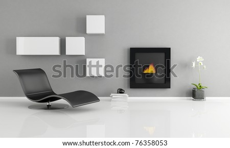 minimalist interior with essential fireplace - rendering - stock photo
