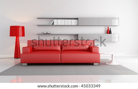 minimalist interior with red leather sofa fashion floor lamp - rendering - stock photo