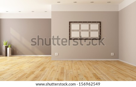 Minimalist interior without furniture - rendering - stock photo