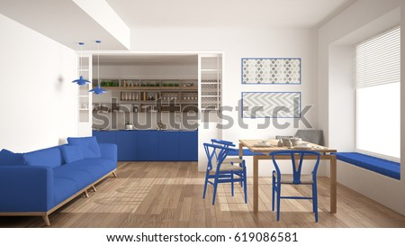 Minimalist Kitchen And Living Room With Sofa, Table And Chairs, White And  Blue Navy