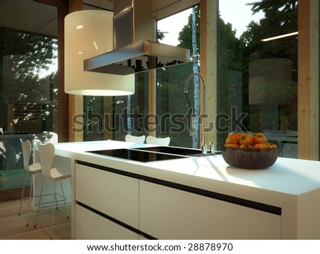 Minimalist kitchen in wood-paneled apartment (3D render) - stock photo