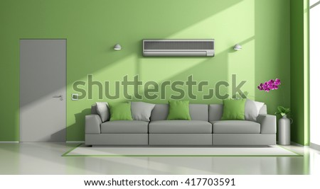 Minimalist living room with air conditioner ,sofa and closed door - 3d rendering - stock photo