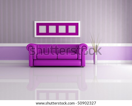 minimalist living room with classic leather couch - rendering - stock photo