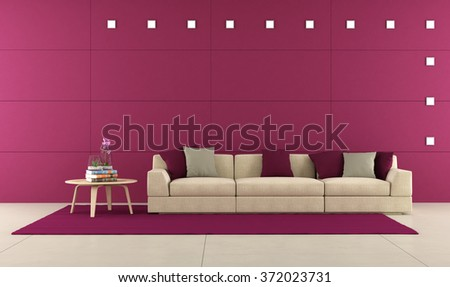 Minimalist living room with elegant sofa with cushion and purple panels - 3D Rendering - stock photo