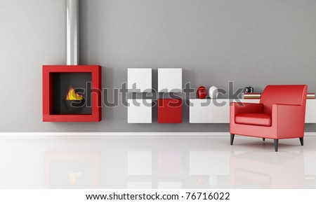 minimalist living room with fashion fireplace - rendering - stock photo