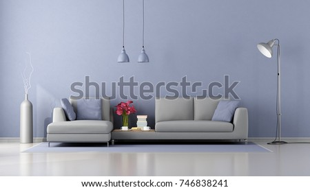 Minimalist Living Room With Modern Gray Sofa And Purple Wall   3d Rendering Part 86