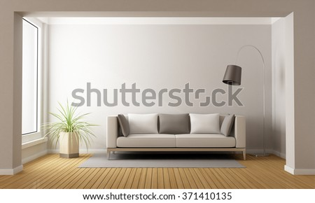 Minimalist living room with sofa on carpet - 3D Rendering - stock photo