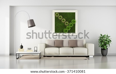 Minimalist living room with vertical garden in frame on wall - 3D Rendering - stock photo