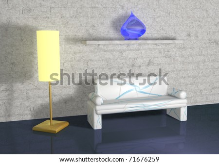 minimalist living room with white  couch - stock photo