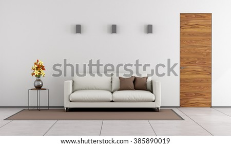 Minimalist living room with wooden door and white sofa on carpet - 3D Rendering - stock photo