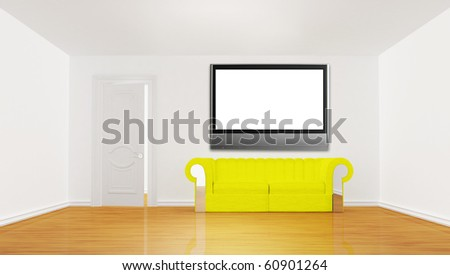 minimalist living room with yellow couch and LCD tv