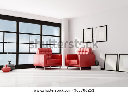 minimalist lounge with two red leather armchair-3D rendering - stock photo