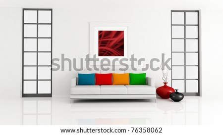 minimalist lounge with white couch and pillow - rendering - the art picture on wall is a my composition - stock photo