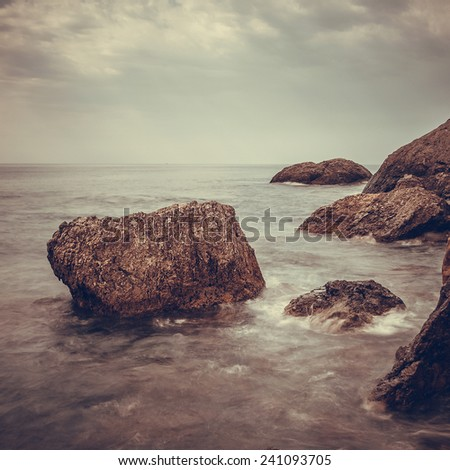 Minimalist misty seascape in the storm - stock photo