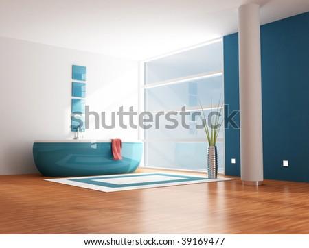 minimalist modern blue bathroom - rendering - stock photo
