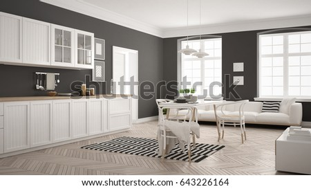 Minimalist Modern Kitchen With Dining Table And Living Room White Gray Scandinavian Interior Design