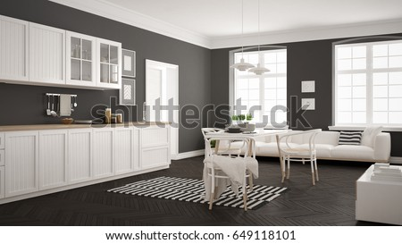 Minimalist Modern Kitchen With Dining Table And Living Room, White And Gray  Scandinavian Interior Design Part 48