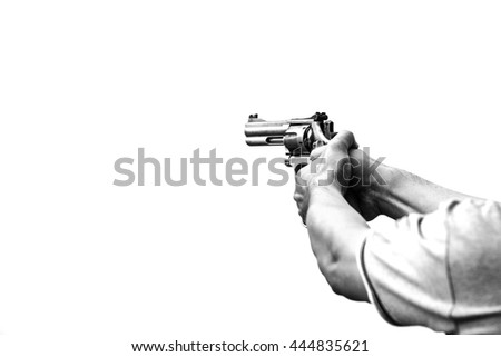 minimalist of two hand aim gun in monotone symbolized threaten and violence - stock photo
