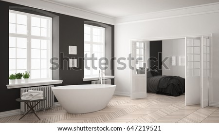 Minimalist Scandinavian White And Gray Bathroom With Bedroom In The  Background, Classic Interior Design,