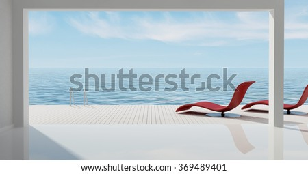 minimalist sea house with terrace overlooking the sea - 3D rendering - stock photo