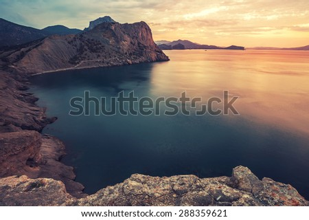 Minimalist Seascape. Coastal Sunrise. Ukraine. Crimea. - stock photo