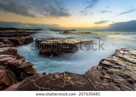 Minimalist Seascape. Kiama Surf coastal Sunrise. Australia - stock photo