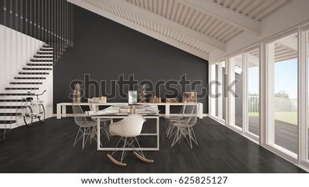 Minimalist White Gray Office Architect Planning Stock Illustration ...