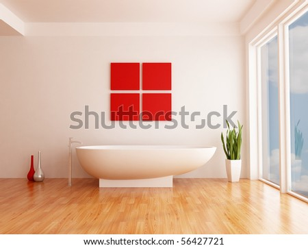 minimalist white bathroom with fashion bathtub - rendering- the sky on back ground is a my photo - stock photo