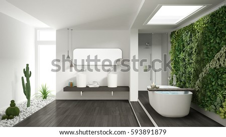pictures of gray and white bathrooms. Minimalist white bathroom with vertical and succulent garden  wooden floor pebbles hotel White Bathroom Vertical Succulent Garden Stock