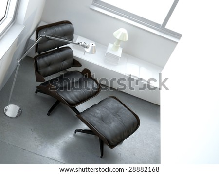 Minimalist white interior with leather armchair (3D render) - stock photo