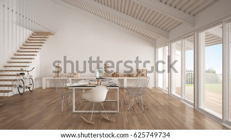 Minimalist White Office Architect Planning Department Stock