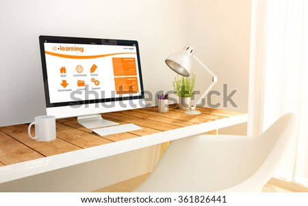 minimalist workspace with e-learning website on screen computer and copyspace. 3d illustration. all screen graphics are made up. - stock photo