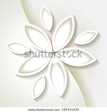 Minimalistic background with white origami paper flower. Raster version - stock photo