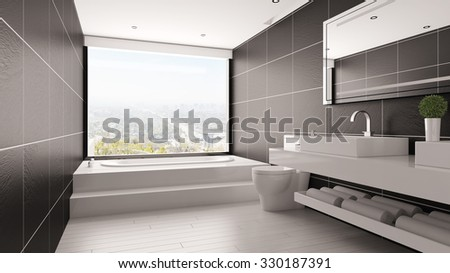 Minimalistic bathroom with bathtub and black tiles in a loft (3D Rendering) - stock photo