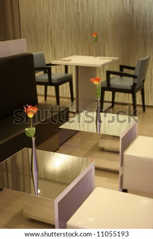 Minimalistic cafe interior - stock photo