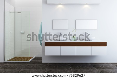 Minimalistic contemporary design style of bathroom - stock photo
