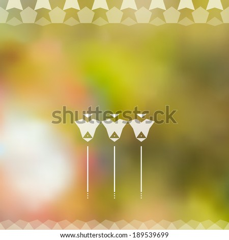 Minimalistic green defocused background with white label and geometric floral ornament. Raster version - stock photo