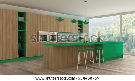 Minimalistic kitchen with wooden and green details, scandinavian interior design, 3d illustration