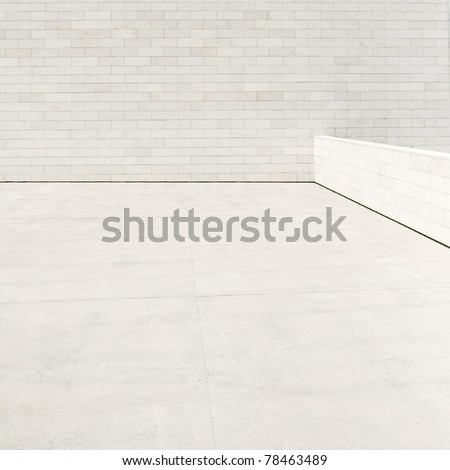 Minimalistic modern building exterior detail. Empty wall and floor can be used as background. - stock photo
