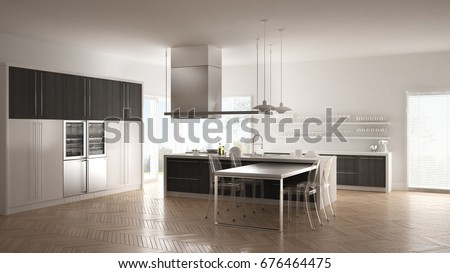 Minimalistic modern kitchen with table, chairs and parquet floor, white and gray interior design, 3d illustration