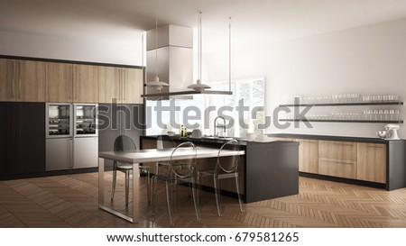 modern kitchen with table chairs and parquet floor white and gray interior design