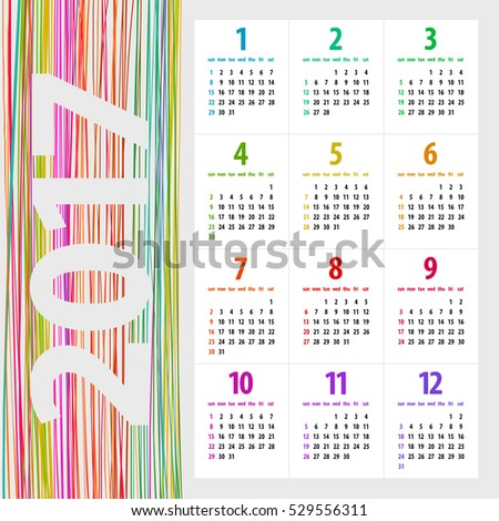 minimalistic multicolor 2017 calendar design on light background - week starts with sunday
