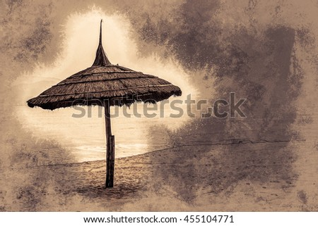 Minimalistic pgoto with straw umbrella on the beach with ocean and islands in the background. Vintage painting, background illustration, beautiful picture, travel texture - stock photo