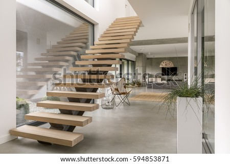 Awesome Minimalistic Stairs In Modern Villa Interior