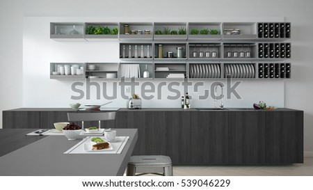 Minimalistic white kitchen with wooden and gray details, vegetarian breakfast, minimal interior design, 3d illustration