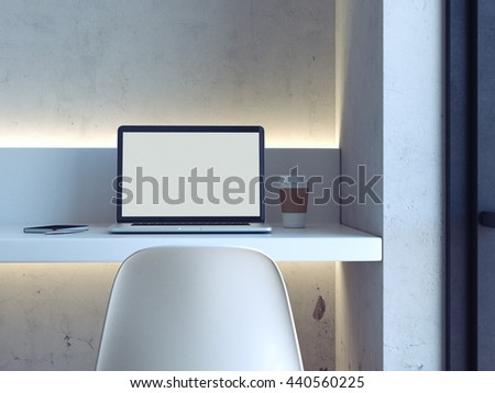 Minimalistic workplace with laptop on the white table. 3d rendering - stock photo