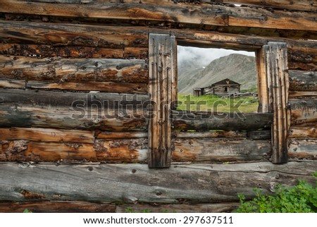 Mining cabin ruins along the Mayflower Gulch Trail in Summit County Colorado. - stock photo