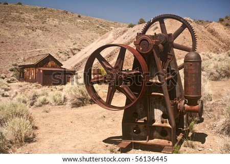 Mining Equipment and mining shack from Berlin Ghost Town near Reno, Nevada- Berlin Ichthyosaur State Park - stock photo