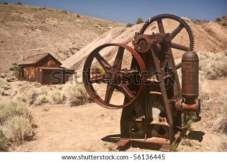 Mining Equipment and mining shack from Berlin Ghost Town near Reno, Nevada- Berlin Ichthyosaur State Park - stock photo