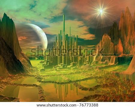 Mining Facility on Alien Planet - stock photo